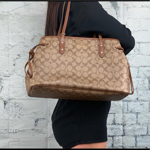 NEW COACH Khaki Brown Signature PVC Leather Carryall Tote Shoulder Bag Purse